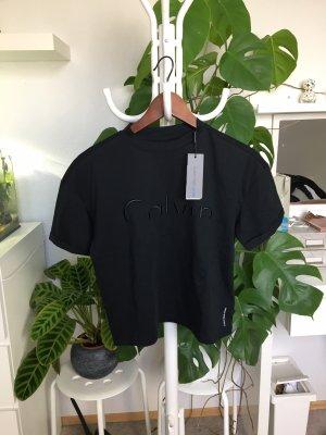 Calvin Klein Cropped shirt zwart Katoen