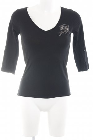 Calvin Klein Basic Top black-silver-colored printed lettering casual look