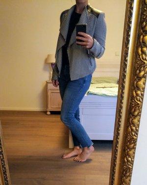 Calvin Klein Blazer Asymmetrisch Jacke Hahnentritt 34 XS 36 S Kunstleder