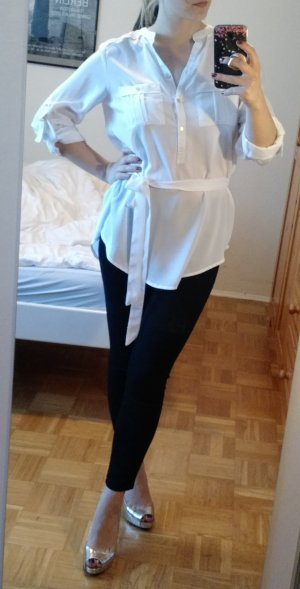 Calvin Klein Bluse Gr. S 36 Hemd Tunika Damen weiß casual ck shirt