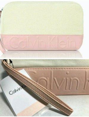 CALVIN KLEIN CK - Pouch Clutch Canvas Tasche Bag - Creme Beige / Rosa - NEU/OVP