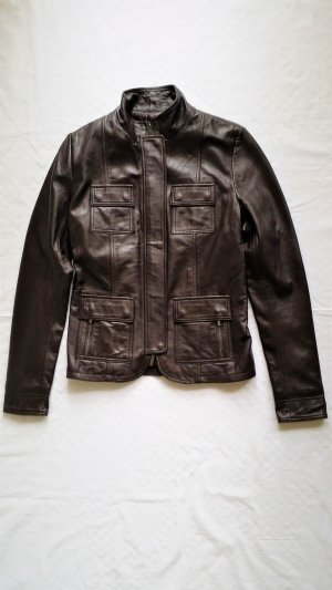 Calvin Klein Collection, Lederjacke, dunkelbraun, Gr. 38 (US 8/It. 44), neu