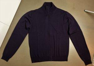 * CALVIN KLEIN COLLECTION * NEU m Fehler ! STRICK CARDIGAN JACKE  dunkel violett /blau 100% feine leichte WOLLE Gr L