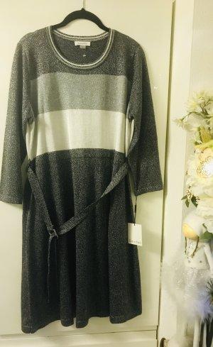 Calvin Klein Damen Strick Kleid A Line Neu Silber Metallic glänzend XL