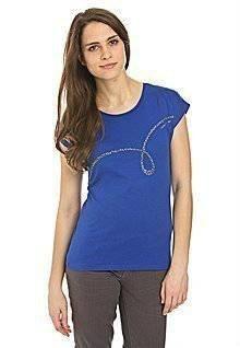 Calvin Klein edles T-Shirt mit Kristallsteinen Gr. XS Blau Neu KP: 89€