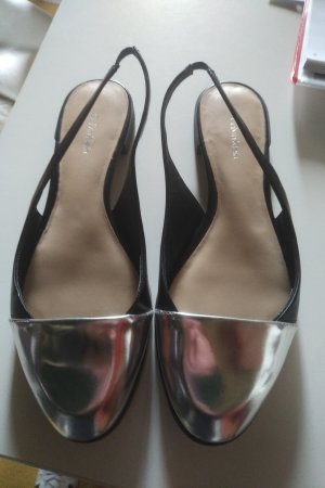 Calvin Klein Patent Leather Ballerinas black-silver-colored