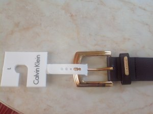 Calvin Klein Faux Leather Belt brown-gold-colored