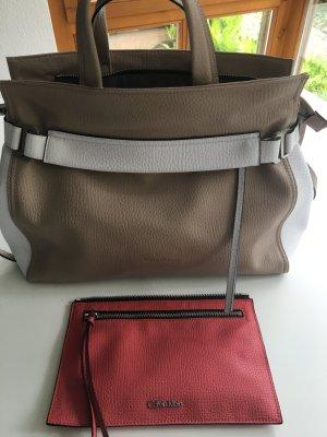 Calvin Klein Handtasche beige/weiß/koralle mit Umhängegurt