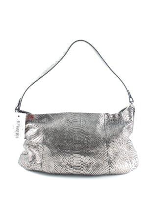 Calvin Klein Handtasche silberfarben-schwarz Animalmuster Glanz-Optik