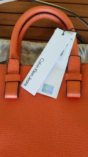 Calvin Klein Jeans Sac fourre-tout orange-crème cuir