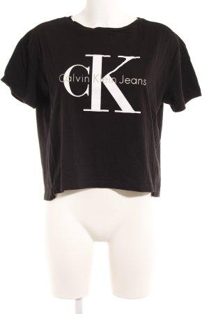 Calvin Klein Jeans Cropped Shirt schwarz-weiß Schriftzug gedruckt Casual-Look