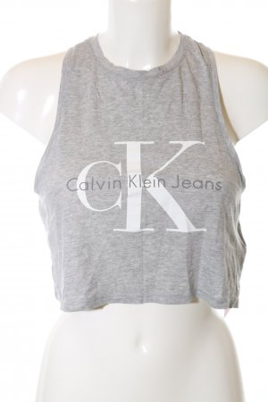 Calvin Klein Jeans Cropped Top light grey-white flecked casual look
