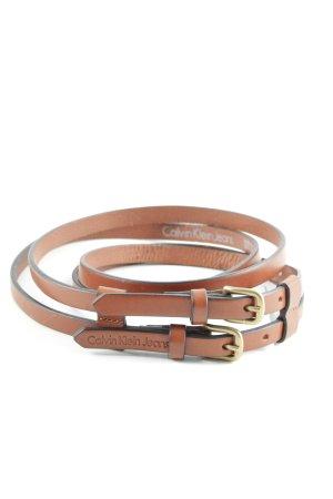 Calvin Klein Jeans Doppelgürtel braun-goldfarben Casual-Look