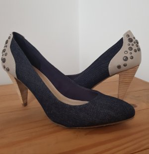 Calvin Klein Jeans High Heels graublau-creme Business-Look