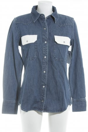 Calvin Klein Jeans Jeanshemd dunkelblau-weiß Casual-Look