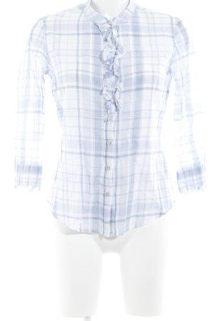 Calvin Klein Jeans Langarmhemd weiß-himmelblau Karomuster Country-Look