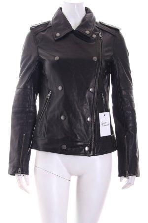 Calvin Klein Jeans Lederjacke schwarz-silberfarben Biker-Look