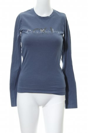 Calvin Klein Jeans Longsleeve graublau Schriftzug gedruckt Casual-Look