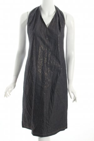 Calvin Klein Jeans Halter Dress dark blue-gold-colored spot pattern