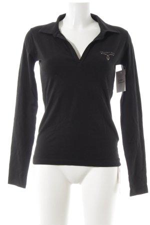 Calvin Klein Jeans Polo-Shirt schwarz Glitzersteinverzierung