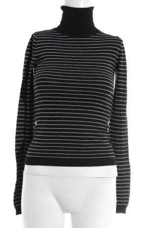 Calvin Klein Jeans Rollkragenpullover schwarz-hellgrau Streifenmuster