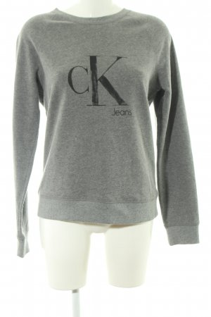 Calvin Klein Jeans Rundhalspullover hellgrau Schriftzug gedruckt Casual-Look
