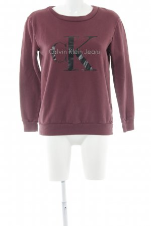 Calvin Klein Jeans Rundhalspullover bordeauxrot Schriftzug gedruckt