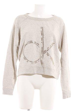 Calvin Klein Jeans Rundhalspullover hellgrau-creme Punktemuster Casual-Look