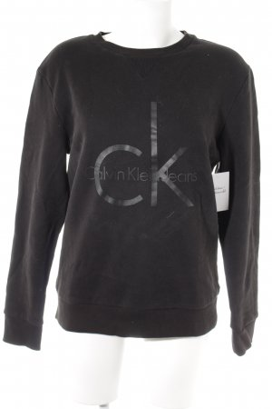 Calvin Klein Jeans Rundhalspullover schwarz-dunkelgrau Schriftzug gedruckt