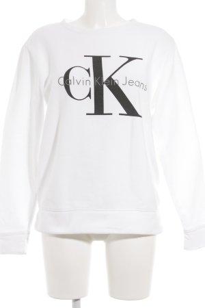 Calvin Klein Jeans Rundhalspullover weiß-schwarz Schriftzug gedruckt