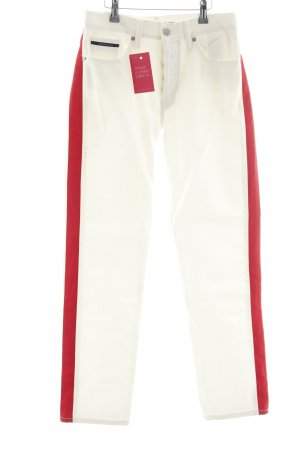 Calvin Klein Jeans Straight-Leg Jeans wollweiß-rot Casual-Look