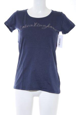 Calvin Klein Jeans T-Shirt blau-silberfarben Schriftzug gedruckt Casual-Look