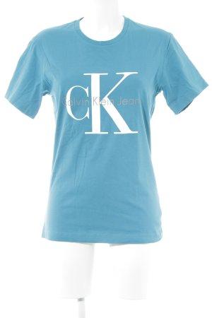 Calvin Klein Jeans T-Shirt kadettblau Schriftzug gedruckt Casual-Look
