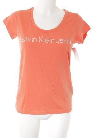 Calvin Klein Jeans T-Shirt lachs Schriftzug gedruckt Glitzer-Optik