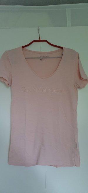 Calvin Klein Jeans T-Shirt rosa mit roségoldfarbenem Logodruck Gr. M
