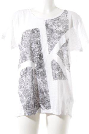 Calvin Klein Jeans T-Shirt weiß-grau abstraktes Muster Casual-Look