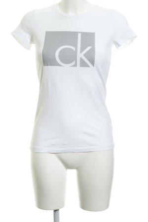 Calvin Klein Jeans T-Shirt weiß-silberfarben Schriftzug gedruckt Casual-Look