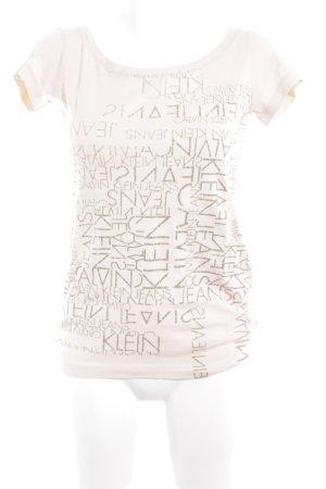 Calvin Klein Jeans U-Boot-Shirt creme-grau Schriftzug gedruckt sportlicher Stil