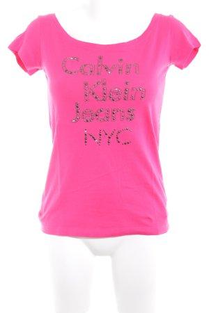 Calvin Klein Jeans Top à col bateau magenta lettrage brodé style athlétique