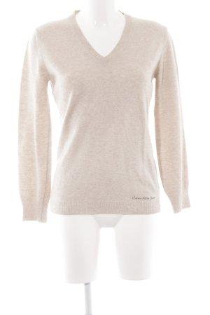 Calvin Klein Jeans V-Ausschnitt-Pullover hellbeige Casual-Look
