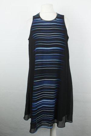 Calvin Klein Kleid Chiffonkleid Gr. US 6 / dt. 36 ärmellos schwarz blau