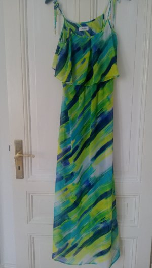 Calvin Klein Kleid Maxikleid Chiffon Spaghettiträgern in türkis blau S 36 Neu