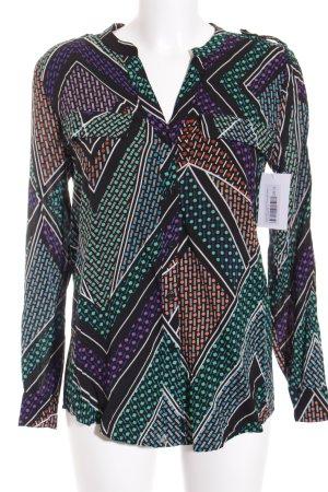Calvin Klein Langarm-Bluse abstraktes Muster 90ies-Stil