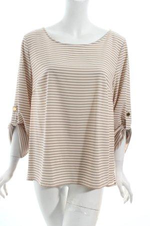 Calvin Klein Langarm-Bluse beige-weiß Streifenmuster schlichter Stil