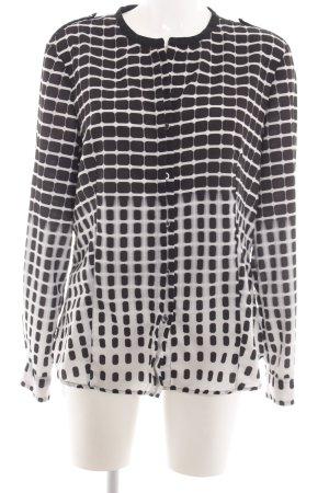 Calvin Klein Langarm-Bluse schwarz-weiß abstraktes Muster Casual-Look