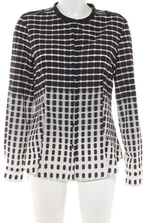 Calvin Klein Langarm-Bluse schwarz-weiß abstraktes Muster Business-Look