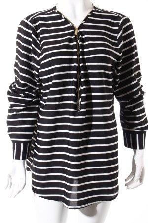 Calvin Klein Langarm-Bluse weiß-schwarz Streifenmuster Casual-Look