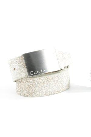 Calvin Klein Lederen riem wit-beige abstract patroon casual uitstraling