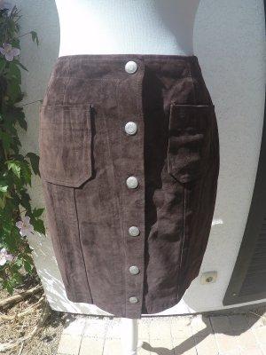 Calvin Klein Leather Skirt dark brown suede