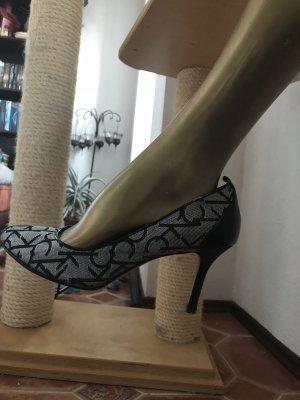 Calvin Klein Peep Toe Pumps zwart-wit